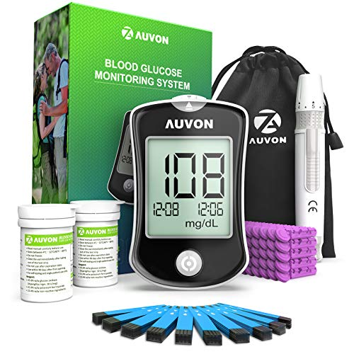 AUVON DS-W Blood Sugar Kit (No Coding Required), High-Tech Diabetes Blood Glucose Meter with 150 Test Strips, 50 30G Lancets, Lancing Device