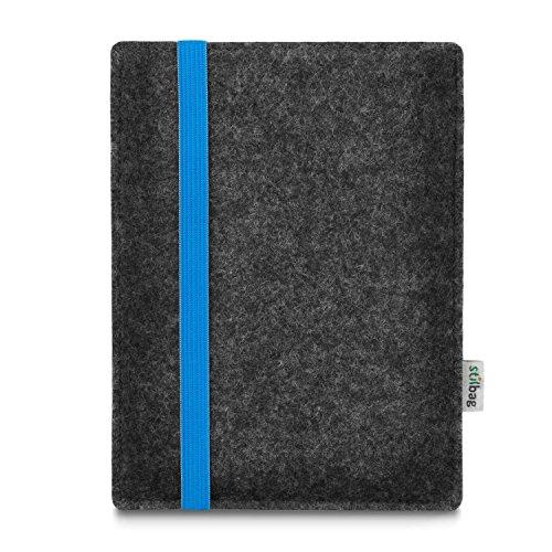 stilbag e-Reader Tasche Leon für Energy Sistem eReader Pro HD | Wollfilz anthrazit - Gummiband blau | Schutzhülle Made in Germany