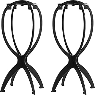 2 Pack Short Wig Stands for Wigs, KASTWAVE 14.2 Inches Portable Collapsible Wig Dryer, Durable Wig Display Tool, Travel Wi...
