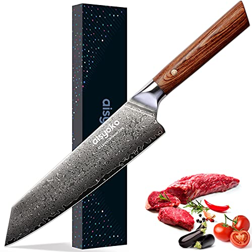 aisyoko Chef Knife 8 Inch Damascus Japan VG-10 Super Stainless Steel Professional High Carbon Super Sharp Kitchen Cooking Knife, Ergonomic Color Wooden Handle Luxury Gift Box