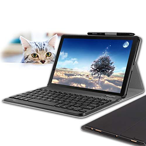 Wineecy Tastiera Custodia Galaxy Tab S4 10.5 (QWERTY Layout), Slim Custodia con Rimovibile Wireless Tastiera per Samsung Galaxy Tab S4 10.5' SM-T830N/T835N 2018 (Galaxy Tab S4 10.5 2018, Black)