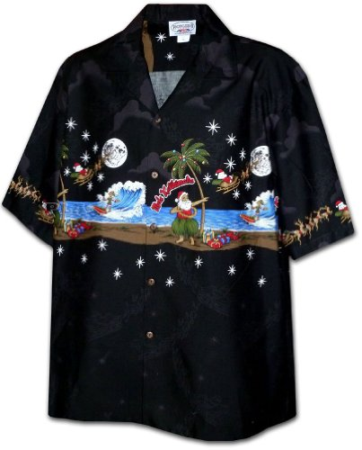 Pacific Legend Santa Hula Mele Kalikimaka Christmas Hawaiian Shirt (XL, Black)