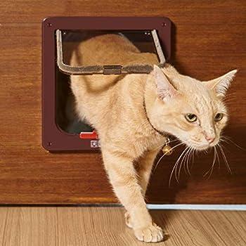 Chatière pour Chat avec magnétique à 4 voies, porte pour animaux de compagnie pour chats et petits chiens, porte pour chat avec tunnel Marron 18 x 19 x 5.5 cm