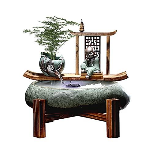 Fuente De Escritorio Fuente de la fuente de la tableta de Zen Cerámica única de la fuente de agua para el hogar y la escultura decorativa del ornamento de la oficina - Regalos para amigos para