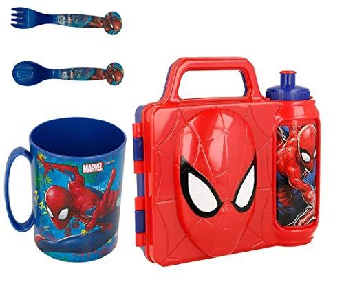 set Spiderman fiambrera cantimplora 21x17 3D, botella de agua, vaso, cubiertos, para niños