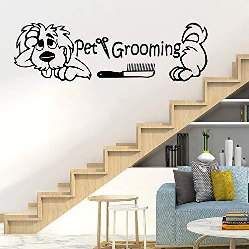 BFMBCH Lustige Hundesalon Einladung Vinyl Kinderzimmer Wohnzimmer Kinderzimmer Home Wandkunst Wandaufkleber GELB L 57 cm X 17 cm