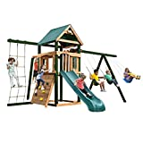 Swing-N-Slide PB 8321N Grand Trekker Play Set with Protected Upright 4x4s, Net Climber, Monkey Bars, Climbing Wall, Slide and Swings, Wood