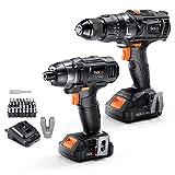 Taladro atornillador eléctrico, destornillador de impacto, TACKLIFE 18V Taladro combinado, 13 mm portabrocas, 2 velocidades, 16 + 3 posiciones, 180Nm destornillador de impacto, 2 baterías de 2.0Ah