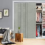 GoDear Design Deluxe Adjustable Sliding Panel Track Blind 45.8'- 86' W x 96' H, Extendable 4-Rail Track, Shimmering Trimmable Natural Woven Fabric, Semi-Sheer, Moonstone