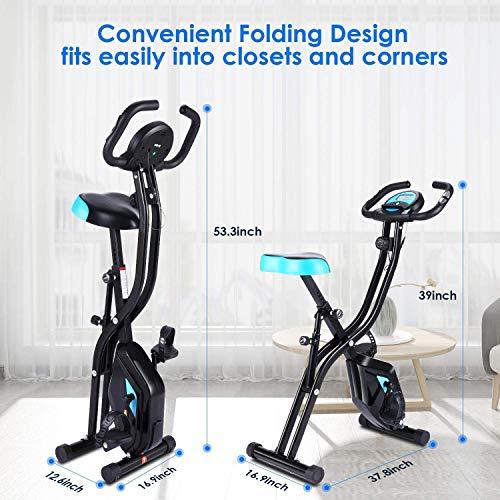 51NMM9HR+BL - ANCHEER Bicicleta Estática Plegable Bicicleta de Ejercicio 10 Niveles de Resistencia Magnética, con App, Soporte para Tableta Capacidad de Peso:120kg (Negro (Respaldo+Giro de Cintura))