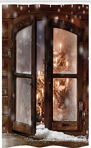 ABAKUHAUS Winter Schmaler Duschvorhang, Weihnachtsbaum in der Kabine, Badezimmer Deko Set aus Stoff mit Haken, 120 x 180 cm, Braun Weiß
