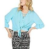 I.N.C. International Concepts INC Womens Lace-Up Tie Front Blouse Blue M