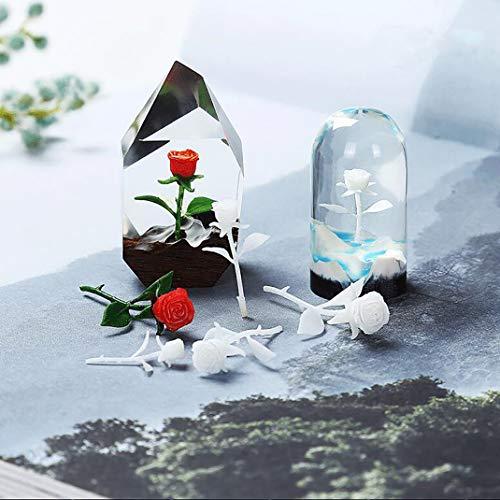 iSuperb 4 Piezas Relleno de Resina Epoxi Molde Cristal 3D Mini Rosas Modelado Resin Fillers DIY Decoración para Joyería Colgante (4 Relleno)