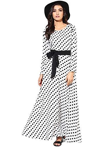 FELLAMO Girls Polka Dot Printed Gown White 12-13 Years