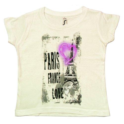 T-Shirt Fille 'Paris France Love' - Blanc (2 Ans)