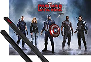 1art1 Capitán América Póster (91x61 cm) Civil War, Team Captain America Y 1 Lote De 2 Varillas Negras