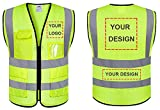 Custom Logo Breathable Mesh Safety Vest Customize Class 2 Visibility Reflective Vests Bulk with Pockets and Zipper