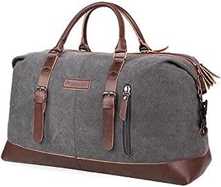 PRASACCO 45L Duffel Bag Vintage Weekend Bag Travel Duffel Bag Canvas Overnight Bag for Women Men