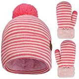 Toddler Hat and Gloves Set Girl Fleece Lined, Winter Knitted Pom Pom Beanies Hats and Mittens for 2T-5T Little Girls Pink