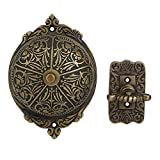 A29 Twist Hand-Turn Solid Brass Wireless Mechanical Doorbell Chime, in Antique Brass Finish, Vintage Decorative Antique Victorian Door Bell with Easy Installation