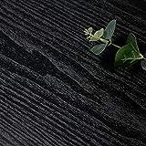 CiCiwind Papel Pintado Negro con Vetas Madera Mate Autoadhesivo Color Negro para Decoración Pared Aspecto Madera Extraíble Cocina Habitación Muebles Resistente Agua Vinilo 45x500 cm