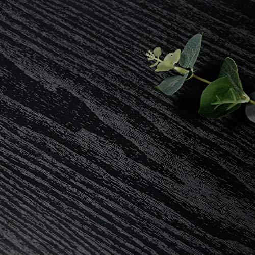 Papier Peint Noir Grain de Bois Mat pour Meuble Papier Peint Autocollante Mural Effet Bois Film Amovible pour Meubles de Cuisine Chambre à Coucher Meuble Imperméable vinyle 45x500 cm