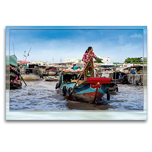 CALVENDO Premium Textil-Leinwand 120 x 80 cm Quer-Format Vietnam, CAI Rang - Schwimmender Markt, Leinwanddruck von Dieter Gödecke