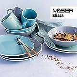 MÄSER 931770 Serie Elissa Modernes Geschirr Set für 6 Personen in Türkis mit weißem Rand, 24-teiliges Kombiservice, Steinzeug - 9