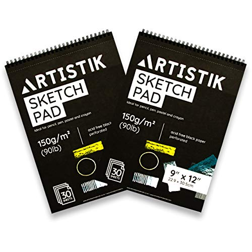 Black Paper Sketch Pad - 12 x 9' (Pack of 2) 30 Sheets (90lb/150gsm), Top Spiral Bound with Perforated Pages, Perfect for All Dry Media Graphite & Colored Pencils, Gouache, Charcoal, Gel Pens, Chalk