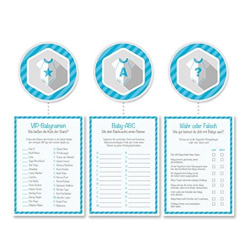 Babyparty Baby-Shower Deko Partyspiel Komplettset 24 Stück, 8x Wahr oder Falsch, 8x VIP-Babynamen, 8x Baby-ABC, junge blau