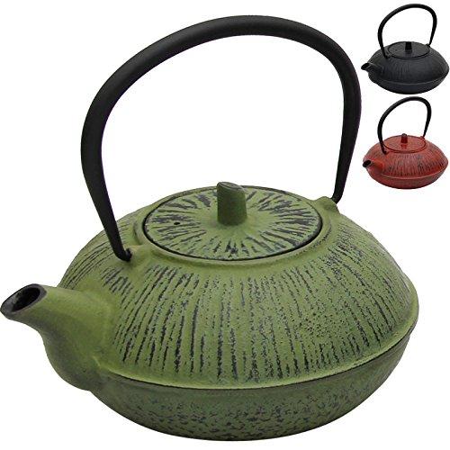 Deuba Teekanne Teekessel Gusseisen 1100 ml Grün Asiatische Teekanne Japanischer Stil inkl. Edelstahl Teesieb mit praktischem Henkel