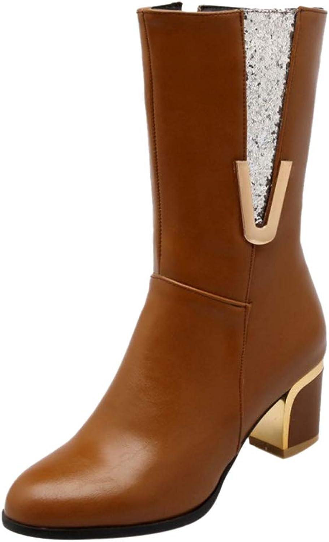 AicciAizzi Women Mid Heel Half Boots Zip