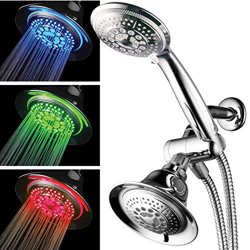Hotel Spa Shower Combo with LED Shower Head. High-Performance 2 in 1 Combination Shower System Use Overhead Hands-Free Enjoy Regular or LED Shower Pampering Shower Heads and Ambiance of LED Lighting