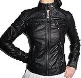 Chiodo - Chaqueta forrada de piel sintética para mujer, tallas grandes, ajustada Negro X-Large