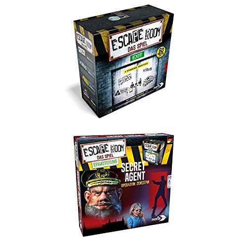 Noris Spiele 606101546 Escape Room Inkl. 4 Fällen und Chrono Decoder + Escape Room Erweiterung Secret Agent, nur mit dem Chrono Decoder Spielbar