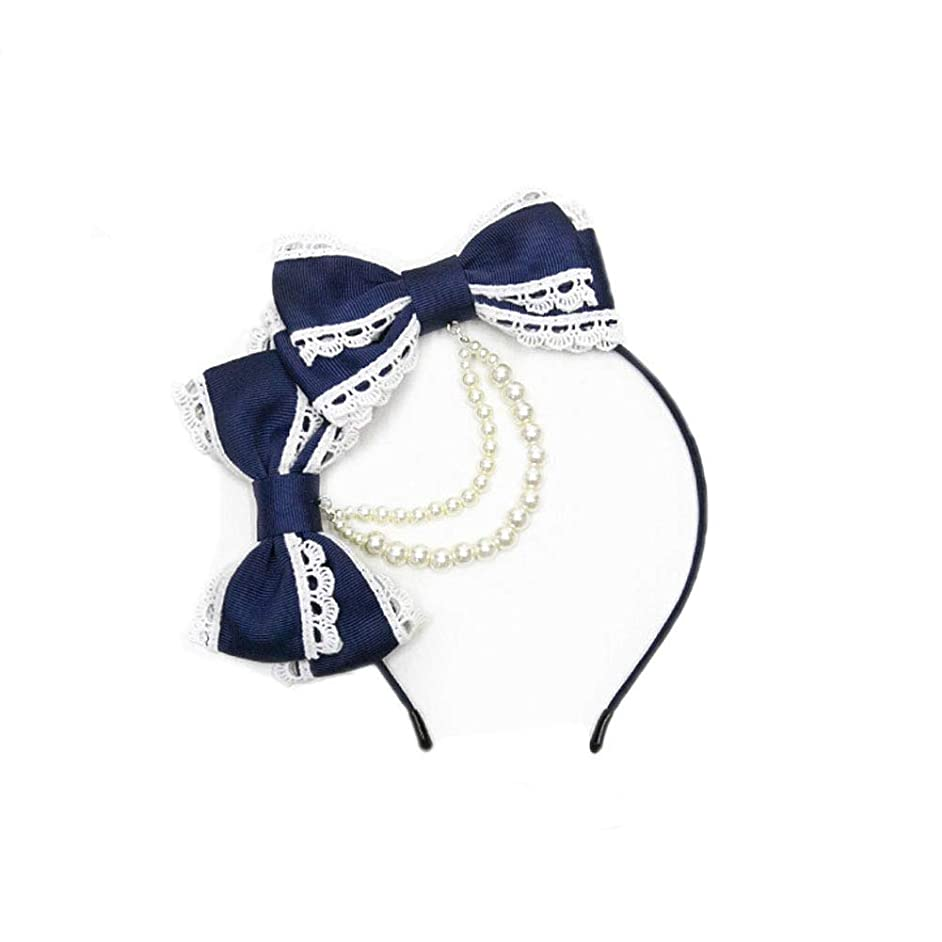 BLESSI Women's Lace Pearls Chain Hairband Bow Knot Hair Accessory Lolita Girls Headband
