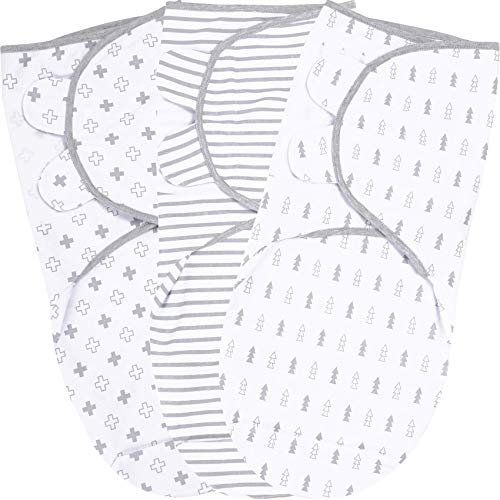 Baby Swaddle Blanket Swaddle Wrap for Newborn Adjustable Swaddles Soft Organic Cotton Small 03 Months Cool Grey