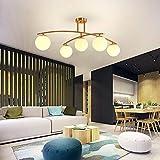 Kaper Go lamparas LED De Oro Bola De Cristal Esmerilado Plateado Salón Dormitorio Cocina Comedor Den Personalidad De La Moda Lámparas 95cm * 35.5cm (Color : Luz Blanca)