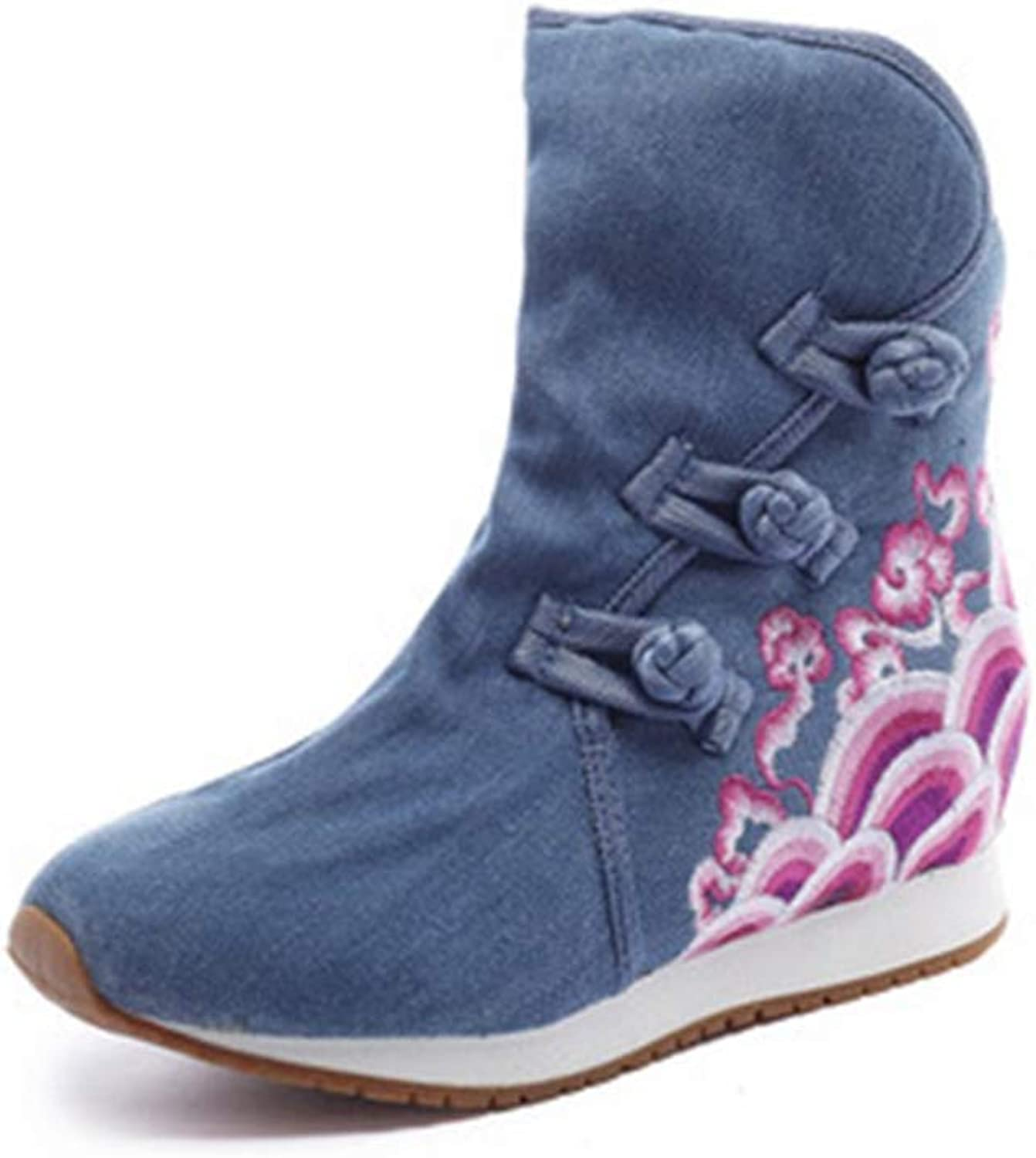 Elsa Wilcox Women Retro Round Toe Buckle Bootie Mid Heel Dress Short Boots Embroidered Flowers Wedge Ankle Boots