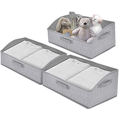 GRANNY SAYS Closet Storage Bins Extra Large Storage Baskets Closet Shelf Organizer Storage Clothing Bins with Handles Gray 3-pack