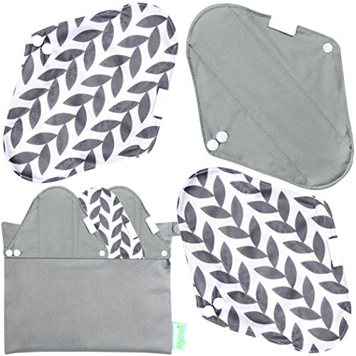 Wegreeco Bamboo Reusable Sanitary Pads (Stylish Pattern) - Cloth Sanitary Pads   Light Incontinence Pads   Reusable Menstrual Pads - 6 Pack Pads, 1 Cloth Mini Wet Bag (Medium, Luxury )