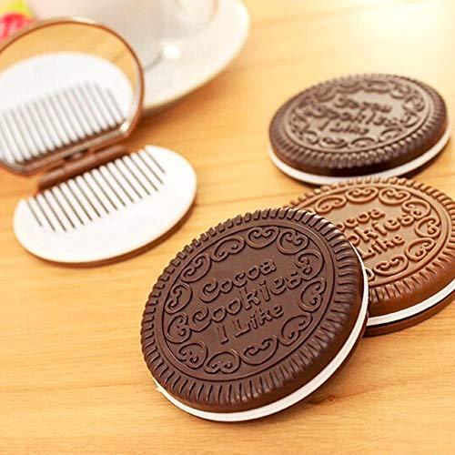 AJIHFD Miroir Compact en Forme de Biscuits au Chocolat avec Peigne