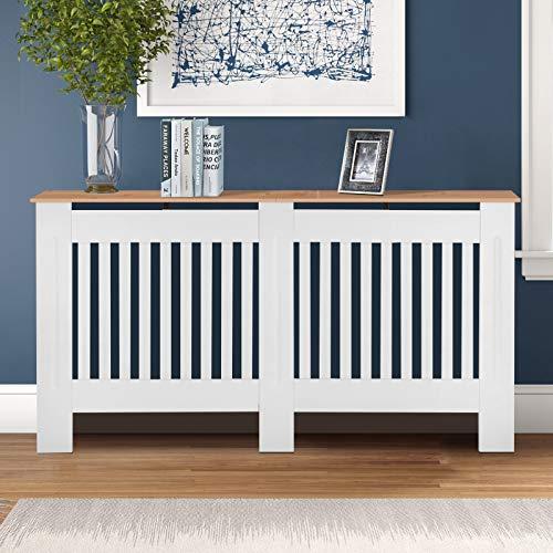 TUKAILAI Modern Radiator Cover Cabinet MDF Cabinet Home Furniture Radiator Protection Vertical Slat Cabinet Radiator Wood color Shelve for Living Room/Bedroom/Kitchen White Large