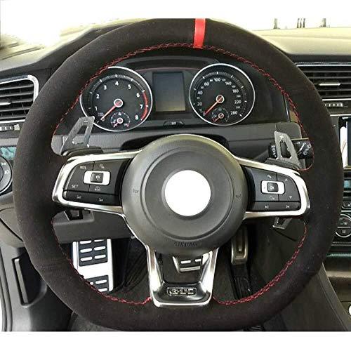 Auto Lenkradbezug, Schwarz Wildleder Handgenäht Auto Lenkradbezug für Volkswagen Golf 7 GTI Golf R MK7 VW Polo GTI Scirocco 2015 2016 (Color : Red Thread)