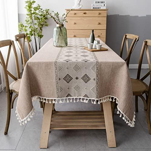 Pahajim Mantel Antimanchas Algodon Lino Elegante Impresos Manteles Resistente Borlas Table Cloth Exterior Rectangular Decorativo para Reuniones Familiares de Cocina(Marrón,140x180cm)