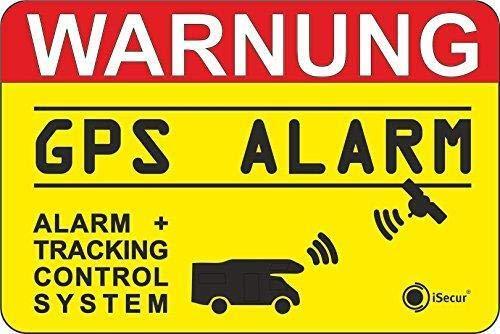 iSecur 2er Set Hinweis-Aufkleber GPS Alarm Tracking System I 6 x 4 cm innenklebend I Achtung Warnung GPS Alarm-gesichert Wohnmobil Wohnwagen I hin_438