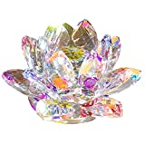 クリスタル ガラス 置物 カラフル 蓮の花 インテリア 花 ハス 風水 開運 サンキャッチャー (カラフル)