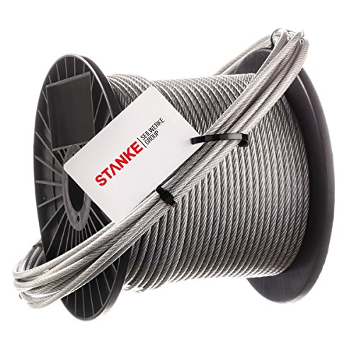 Seilwerk STANKE Galvanized Steel Rope In PVC Coating 1x19 2 mm 1 m Plastic Coated Wire Coil DIN Construction Industry