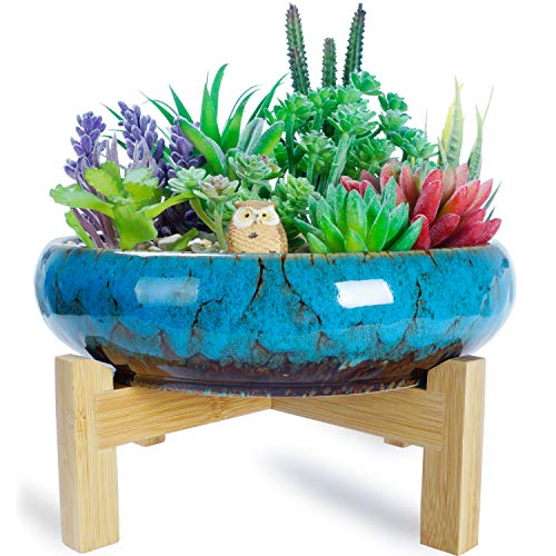 Artketty 10 Inch Large Round Succulent Planter Pot with Stand, Vintage Ceramic Glazed Bonsai Pot with Mess Drainage Screen, Decorative Garden Cactus Flower Plant Container Bowl for Indoor/Outdoor use