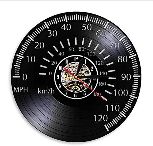 szhao Tacómetro Retro Racer Reloj de Pared Reloj de Pulsera Velocímetro Reloj de Pared de Vinilo Reloj de Pared de Motocicleta Reloj Reloj de Pared Piloto Regalo